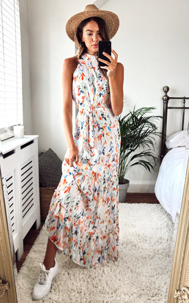 Willow High Neck Maxi Dress With Frill Hem And Tie Waist In White Multi Floral by Style Cheat Product photo