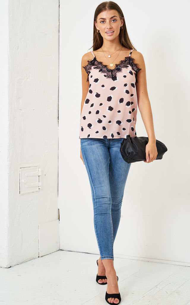 Leopard Print Lace Trim Cami Top | Pink by love frontrow