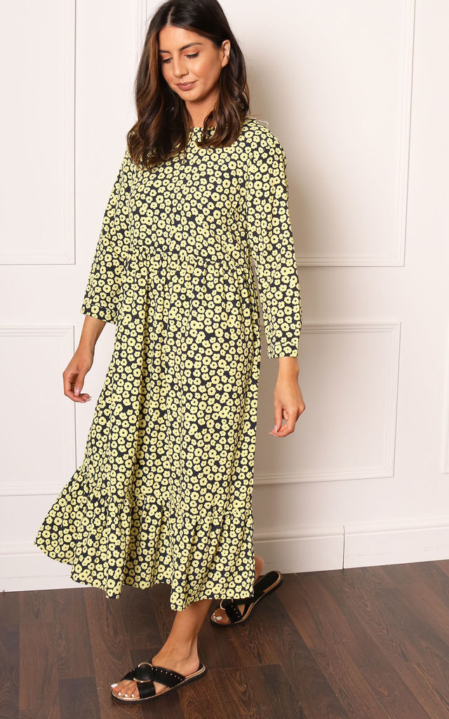 Ditsy Floral Oversized Smock Midi Dress with Three Quarter Sleeves in Yellow & Black by One Nation Clothing