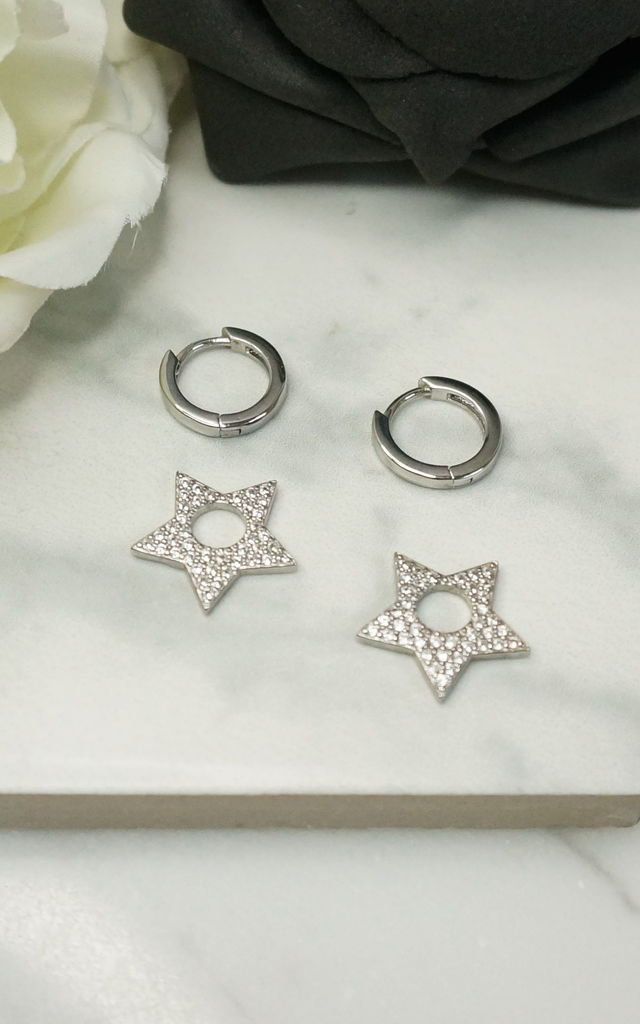 DETACHABLE STAR CHARM HUGGIE HOOP EARRINGS by EPITOME JEWELLERY