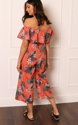Tropical Floral Print Frill Off The Shoulder Bandeau Culotte Jumpsuit in Coral Orange by One Nation Clothing