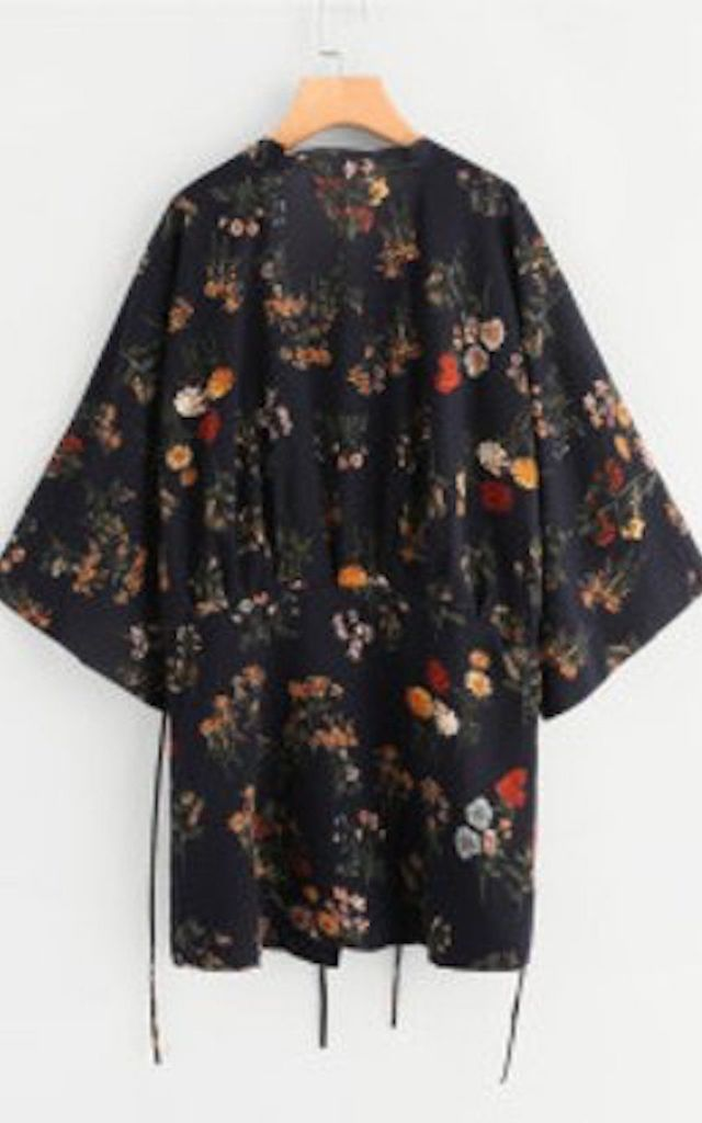 Kimono in Navy Floral Print by Relle Fashion