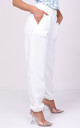 High Waisted Cuffed Oversized Jogger Trousers White by LILY LULU FASHION