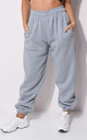 High Waisted Cuffed Oversized Jogger Trousers Grey by LILY LULU FASHION