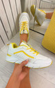 Aria Chunky Rainbow Panel Trainers Yellow by Larena Fashion