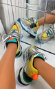 Sara Chunky Lace Up Trainers in Yellow by Larena Fashion