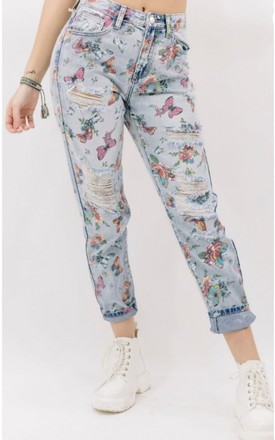 Ripped Butterfly Print Jeans by Tilly Tizarro