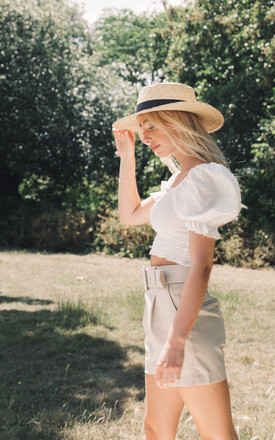 Cotton Short Sleeve Shirred Crop Top by Styled In London