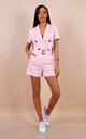 Pink Belted Button Front Tuxedo Wrap Playsuit by Lilura London