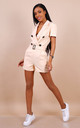 Beige Belted Button Front Tuxedo Wrap Playsuit by Lilura London