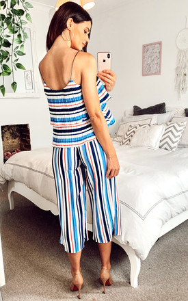 Striped Culottes & Ruffle Top Set in Multicolour blue by Shikha London