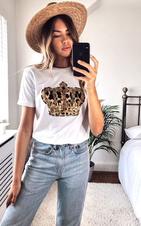 White T Shirt With Leopard Print Crown Motif by Fearless Alice Custom Product photo