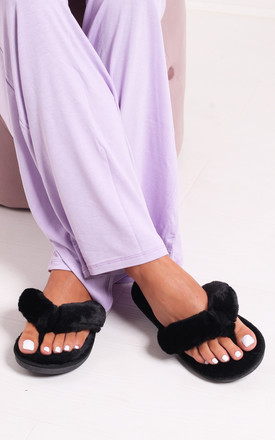 Dream Black Fluffy Toe Post Slippers by Linzi
