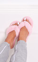 Dream Pink Fluffy Toe Post Slippers by Linzi