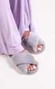 Cloud Grey Fluffy Crossover Slippers by Linzi