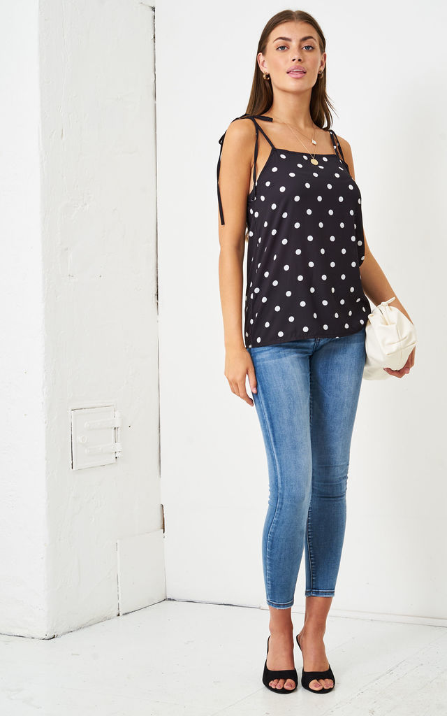 Polka Dot Self Tie Shoulder Cami Top | Black by love frontrow