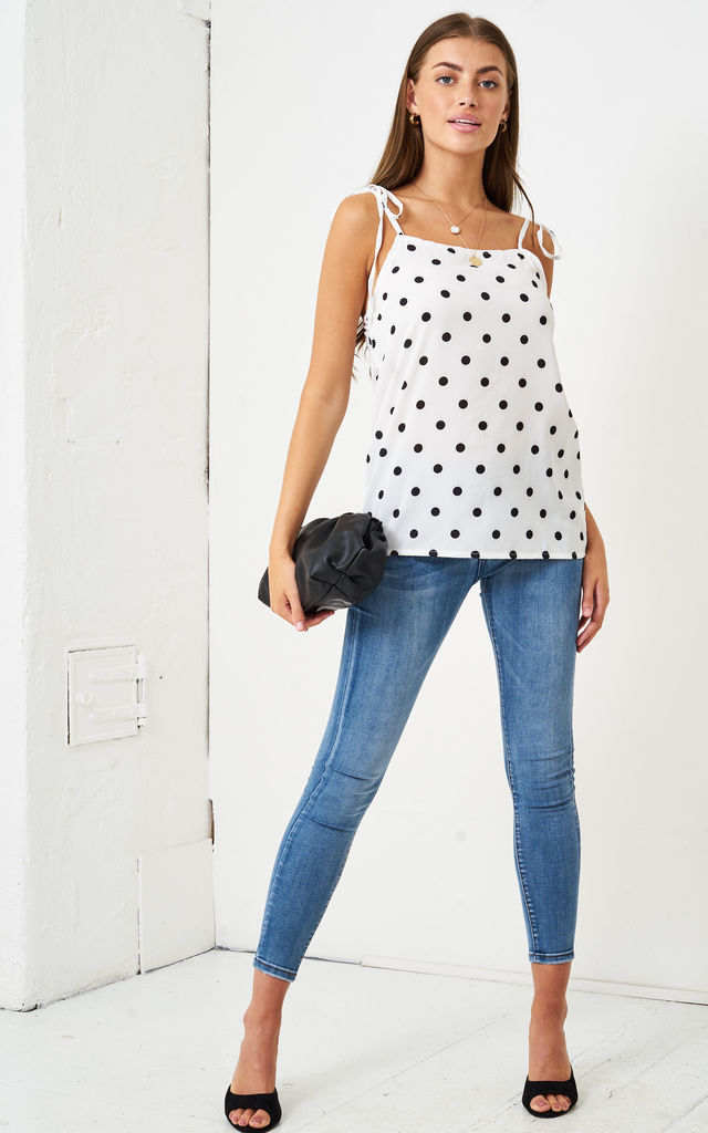 Polka Dot Self Tie Shoulder Cami Top | White by love frontrow