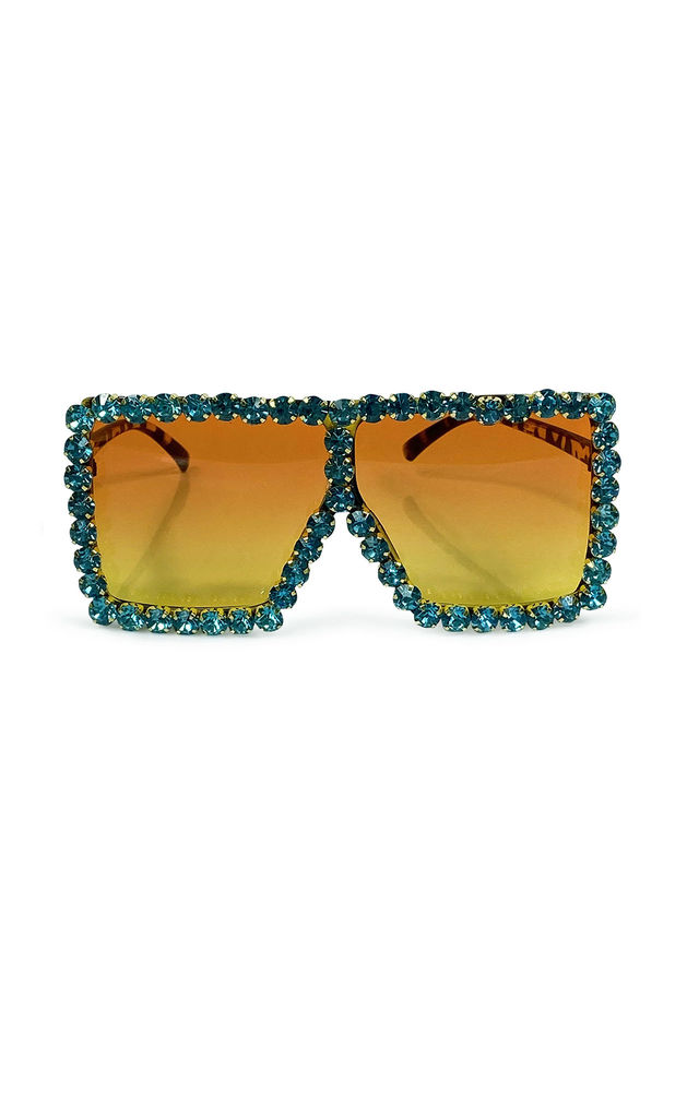 Ritz oversized Dimanté Sunglasses Turquoise by AMO