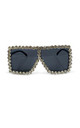 Ritz oversized Dimanté Sunglasses Silver by AMO