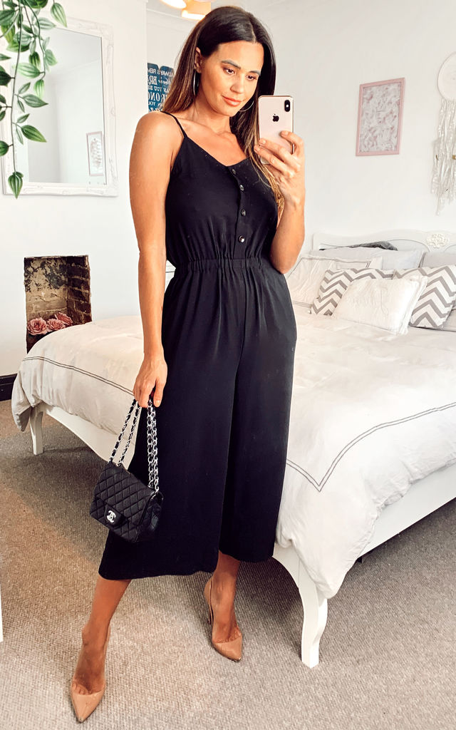 Strappy Crop Wide Leg Culottes Jumpsuit Black by Shikha London