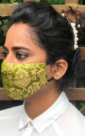 Pack of 3 -Moss Green Reusable Brocade Face Mask by Nesavaali