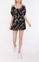 Playsuit With Open Shoulder Detail In Black Floral Print by Lilura London