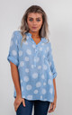 SPIRALS PRINT BLOUSE (BABY BLUE) by Lucy Sparks