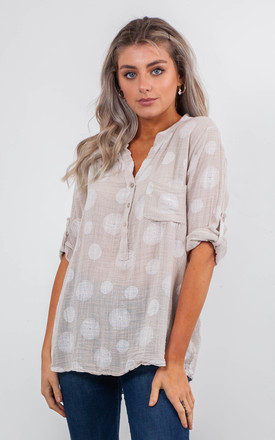 SPIRALS PRINT BLOUSE (BEIGE) by Lucy Sparks