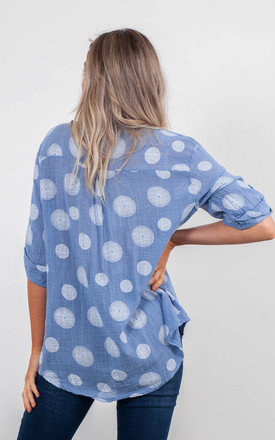 SPIRALS PRINT BLOUSE (DENIM BLUE) by Lucy Sparks