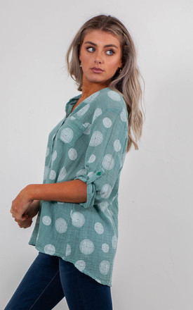 SPIRALS PRINT BLOUSE (LAKE GREEN) by Lucy Sparks