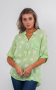 SPIRALS PRINT BLOUSE (LIME GREEN) by Lucy Sparks