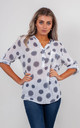 SPIRALS PRINT BLOUSE (WHITE) by Lucy Sparks