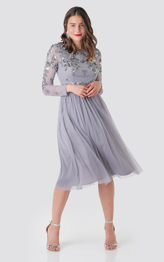 Collette Sequin Embellished Midi Dress in Grey by Shade Your Style
