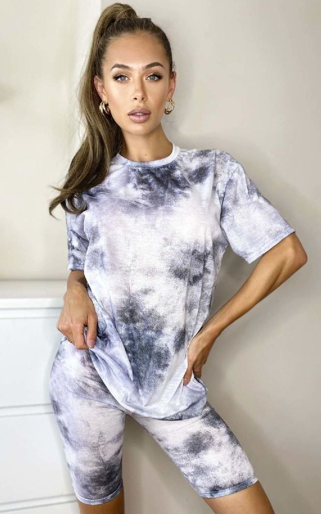 Kara Tie Dye Cycle Shorts & Top Co-ord in Grey by IKRUSH