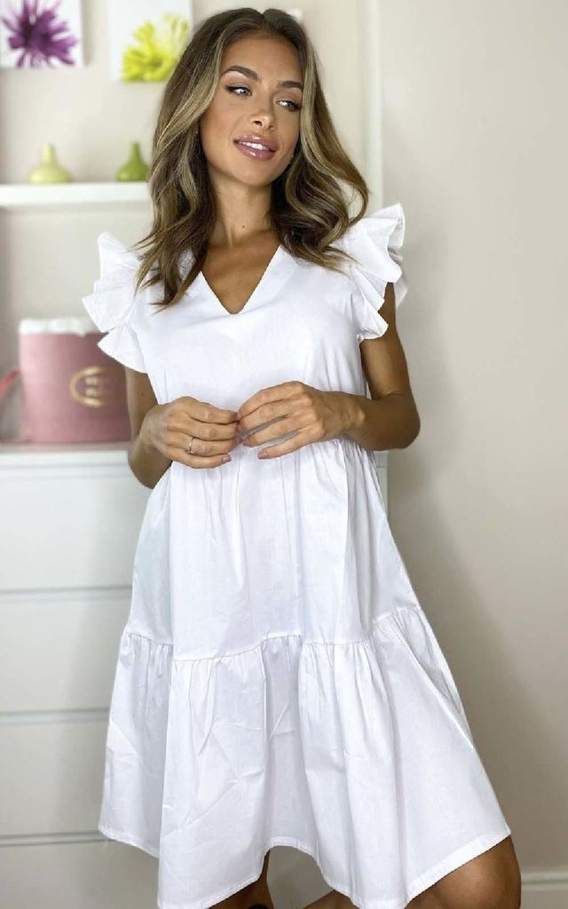 Nadia Layered Frill Sleeve Shift Dress in White by IKRUSH