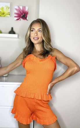 Francesca Frill Shorts & Top Co-ord in Orange by IKRUSH