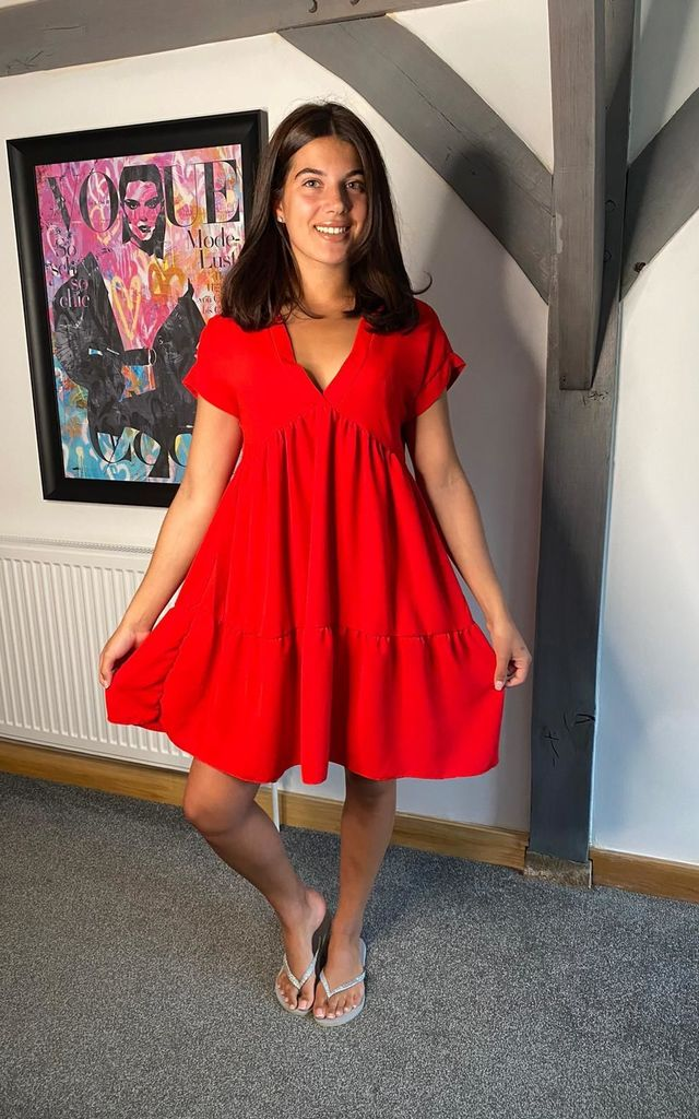 Smock Dress (Red) by MISSHUNNY London
