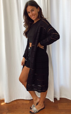 Harper Crochet Longline Cardigan Black by Girl In Mind