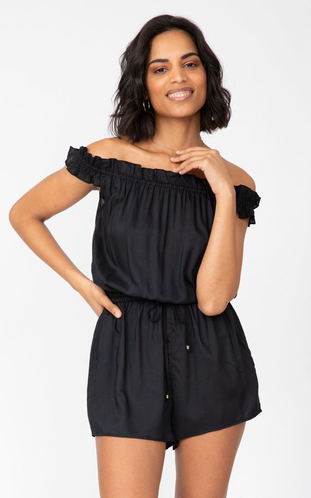 Off Shoulder Bardot Playsuit in Black by likemary