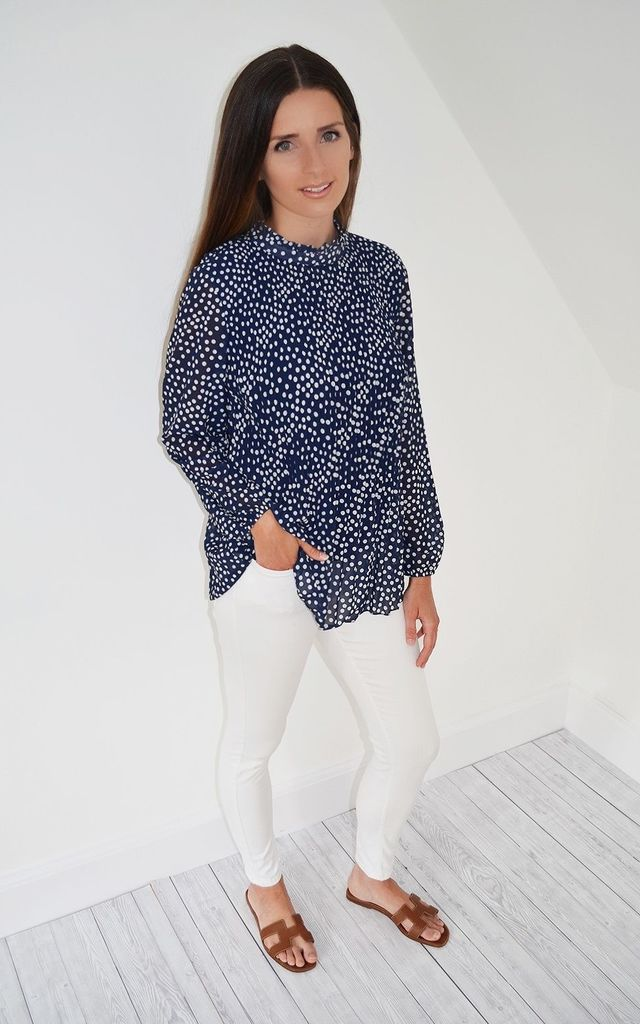 Patsy Top in Navy Polka Dot by mychicwardrobe