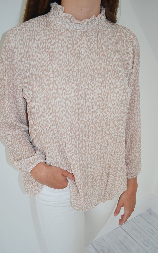 The Patsy Blouse in Beige Animal by Mychicwardrobe