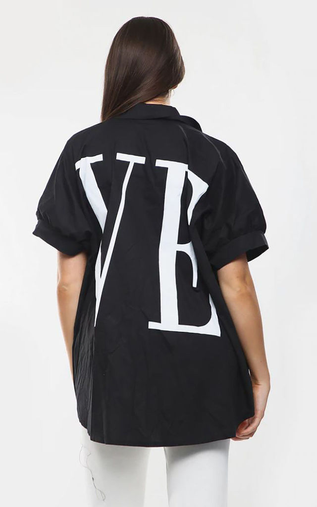 Oversized Long Love Shirt in Black by Azzediari Clothing