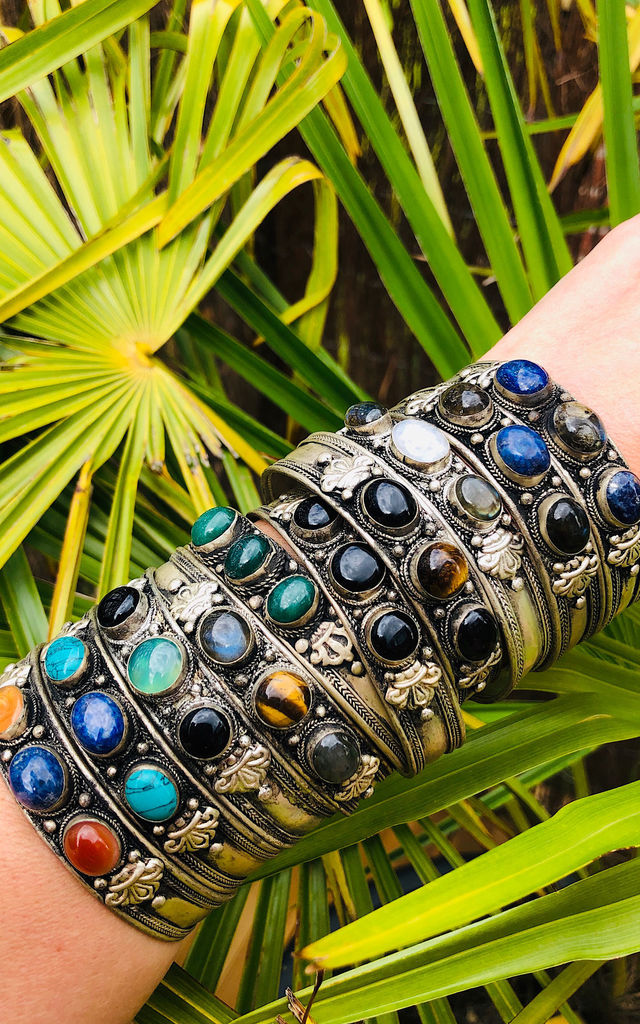 Black agate ancient moonstone cuff by Lovelock jewels