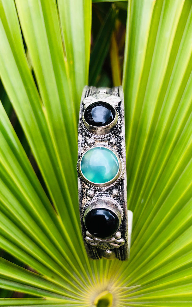 black agate and green ancient moonstone cuff by Lovelock jewels