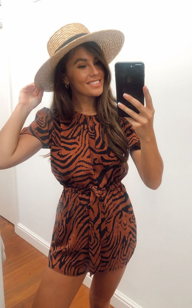 Emery Pleated Neck Animal Print Playsuit by Girl In Mind