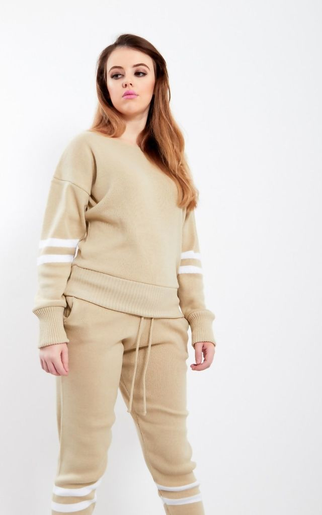 Beige Stripe Detail Knitted Tracksuit by JustYourOutfit