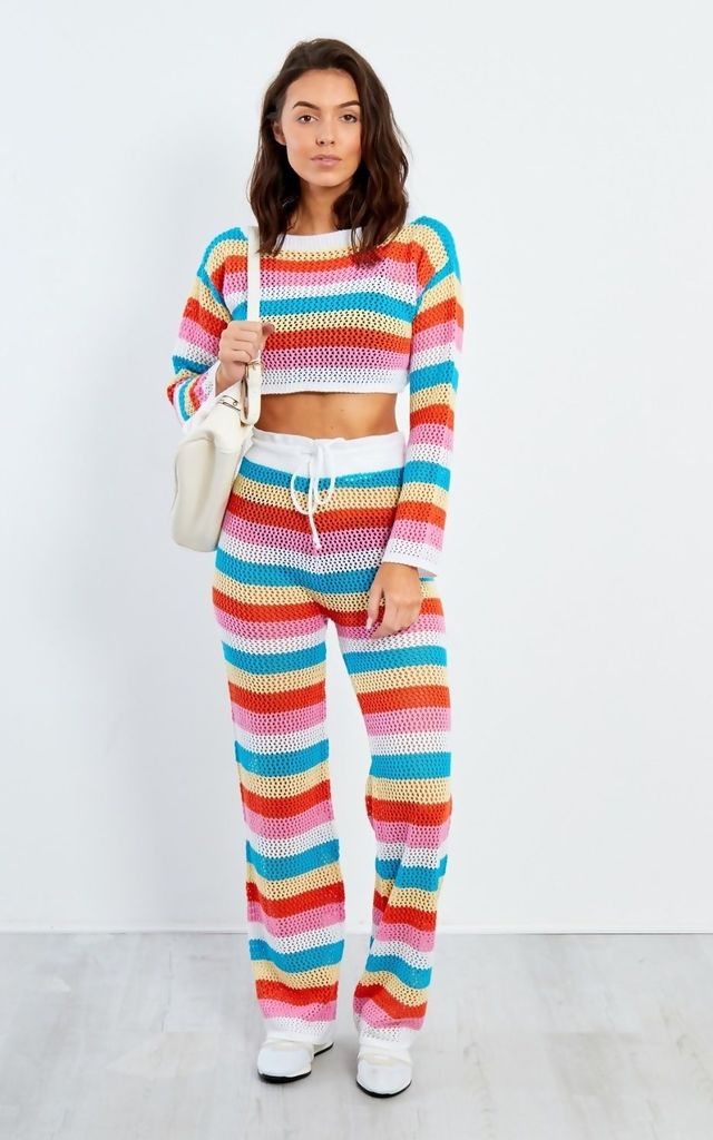 Rainbow Stripe Pattern Crochet Top And Trouser Set by JustYourOutfit