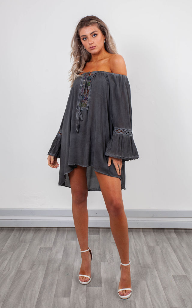 OFF SHOULDER TOP WITH BELL SLEEVES (BLACK) by Lucy Sparks