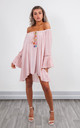 OFF SHOULDER TOP WITH BELL SLEEVES (PINK) by Lucy Sparks