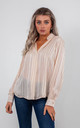 STRIPED CHIFFON BLOUSE (BEIGE) by Lucy Sparks